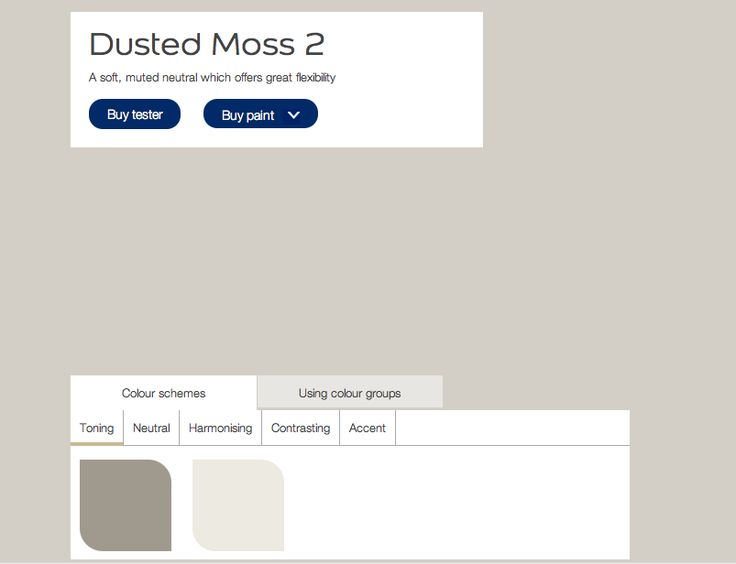 Dulux Dusted Moss no. 2 The neutral colour suggested by Dulux for use with front room colour, Highland falls no.s 5 6.