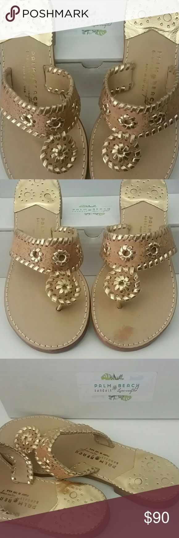 Palm Beach Sandals Size 8.5 EUC! Cork with gold trim. Minor discoloration on left shoe (footbed as shown), not noticeable when worn. These have been worn maybe 4 times, if that. Size 8.5  If you like JR, you will LOVE these! The original maker of the Navajo style sandal. Handmade, not mass produced. Superior quality...no comparison.   Smoke free, Pet free home. Bundle and Save! Palm Beach Shoes Sandals