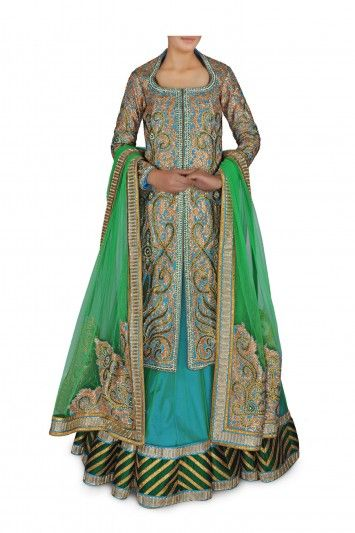 Beautiful Green and Teal Traditional Indian Bridal Gown.