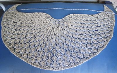 """Faroese-shaped shawl--Shaped so it does not """"ride up"""" the neck at the back. :)"""