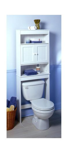 Features:  -Space saver wall cabinet.  -Provides organization and storage for bathroom.  -Fits over standard toilet tanks.  -Wood door pulls.  -Wood construction.  -White finish.  Product Type: -Over-