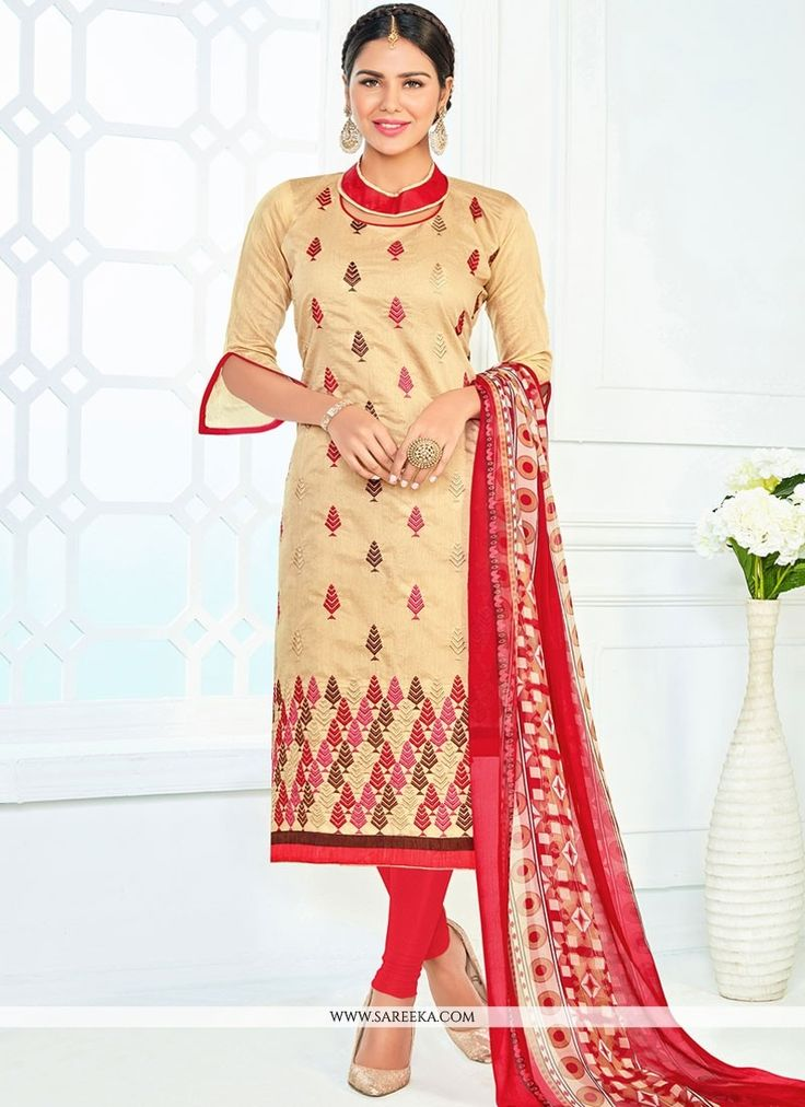 Appear stunningly beautiful in such a beige and red chanderi churidar suit. The ethnic embroidered and lace work to the attire adds a sign of attractiveness statement with your look. Comes with matchi...
