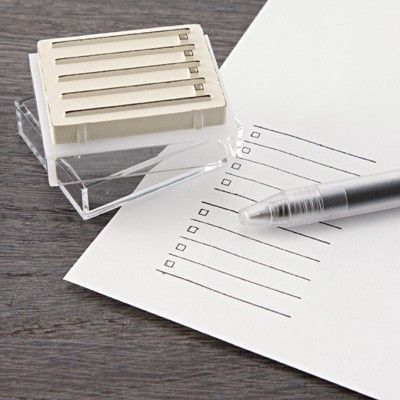 Make a check list out of anything! An old gas bill, a scrap of paper or yesterday's crossword! Love this idea.  Buy one here for $3.75 at Muji.