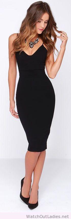 Lady black bodycon midi dress