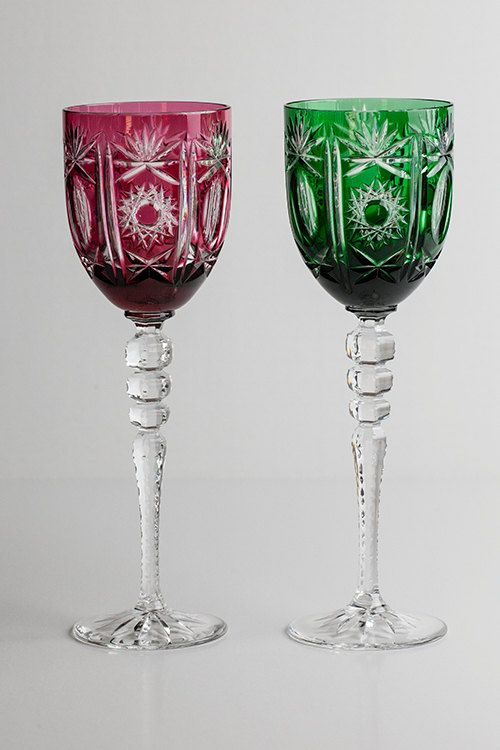 Bohemia Crystal Water Or Wine Glasses Set Of 2 Red