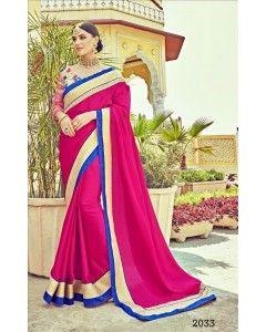 Pink Satin Silk Partywear Saree