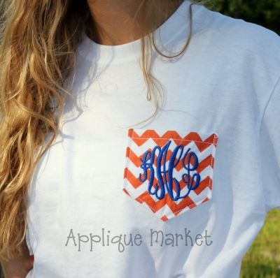 Chevron Monogrammed Pocket...perfect for a UVA game. <3
