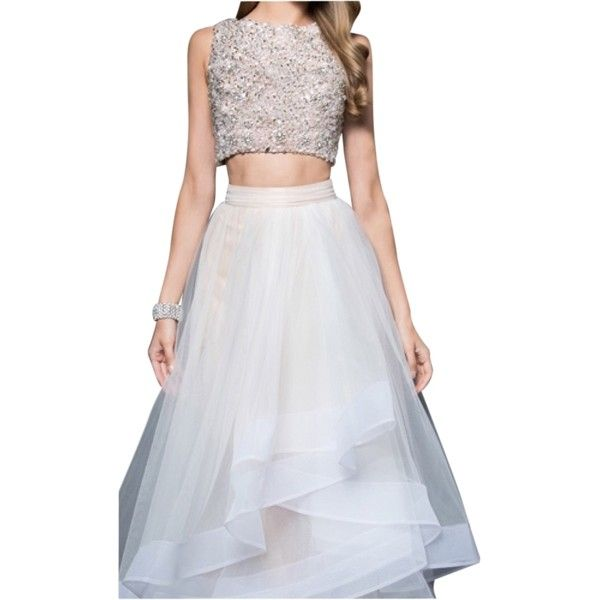 Pre-owned Terani Couture Ivory Nude 1611p1364 Dress ($490) ❤ liked on Polyvore featuring dresses, ivory nude, tulle prom dresses, two piece cocktail dresses, ivory cocktail dress, terani dresses and 2 piece dress