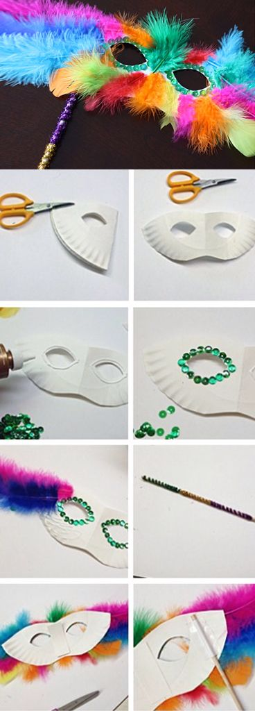 Make paper plate Mardi Gras masks!