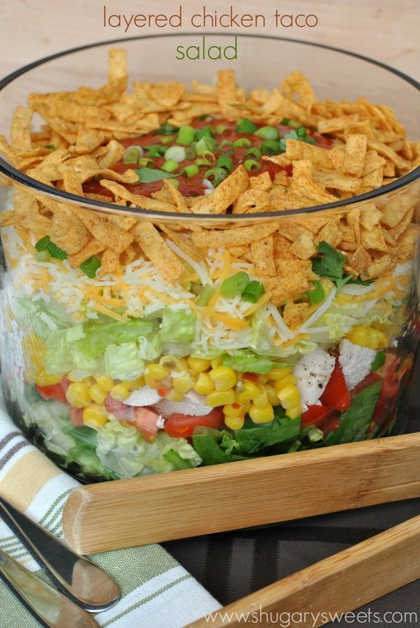 Layered Chicken Taco Salad I'll start the list with this fantastic chicken taco salad, I hope you'll like it because it's really full of nice ingredients. All you need to do is to follow the recipe.