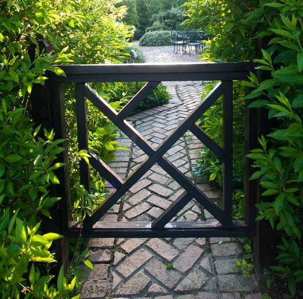 Chippendale Fence + Brick Path: Gardens Ideas, Brick Paths, Herringbone Brick, Back Patio, Gardens Gates, Old Houses, Herbs Gardens, Front Gates, Outdoor Spaces