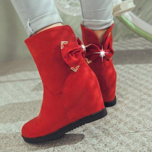 Ladylike Women's Boots With Bowknot and Increased Internal Design #CLICK! #clothing, #shoes, #jewelry, #women, #men, #hats