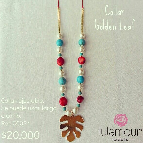 Golden leaf necklace. More on @lulamourr on instagram And Lulamour Accesorios on Facebook. Colombian brand