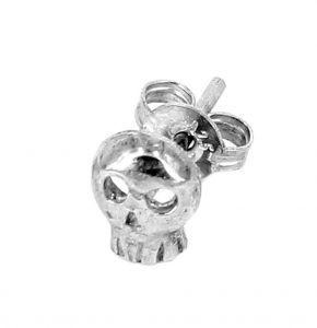 Single skull stud earring in sterling silver - $40