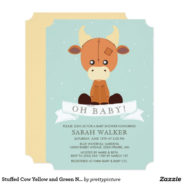 Stuffed Cow Yellow and Green Neutral Baby Shower Card