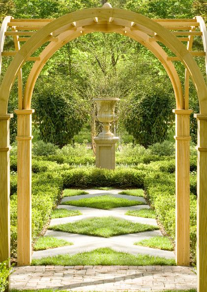 Love The Arched Pergola Moss Grass In Between Stepping Stones