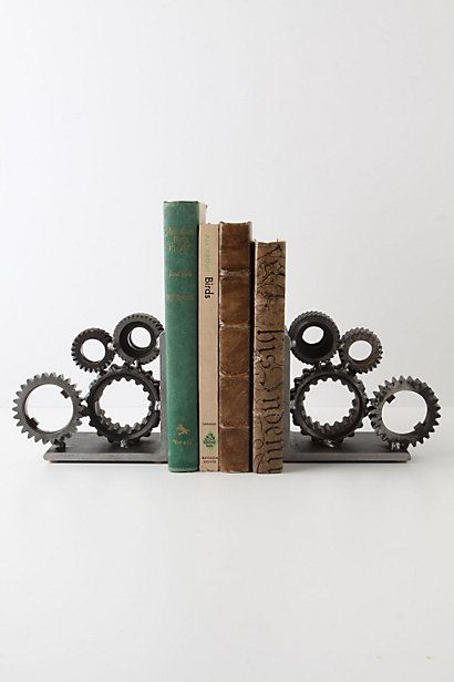 Does loving these Industrial Gear Bookends make me a steam punk nerd? oh well! #anthropologie