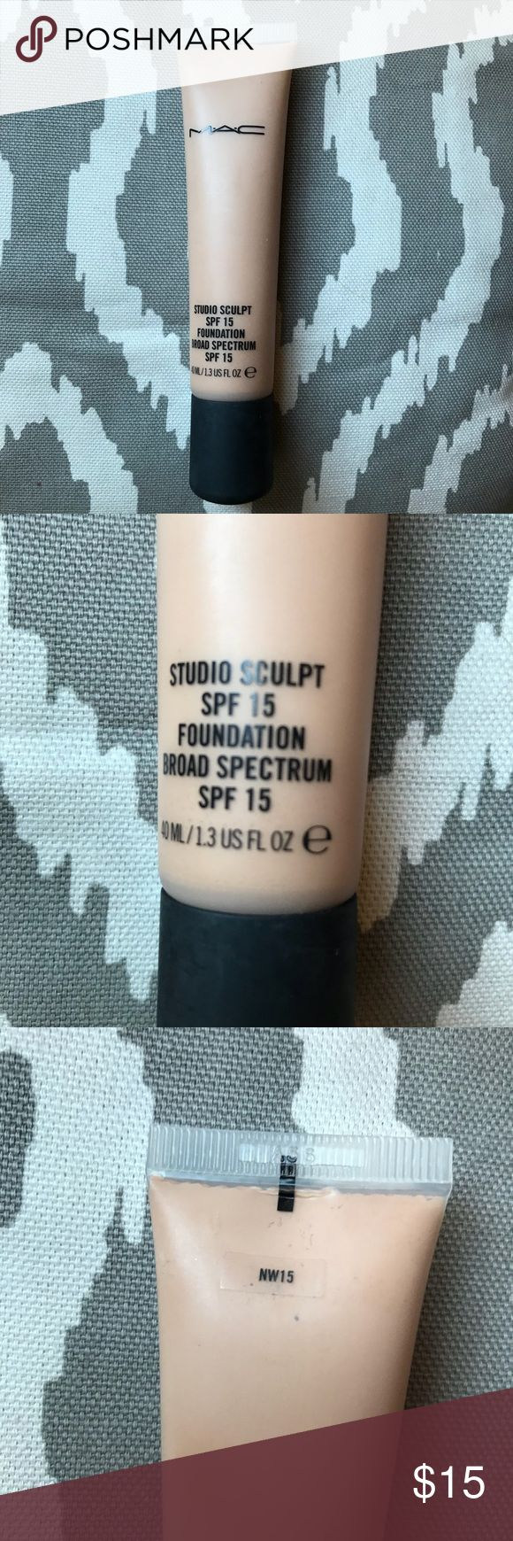 MAC Studio Sculpt SPF 15 Foundation- Shade NW 15 Gel based foundation that offers medium to full coverage with natural satin finish. Shade NW 15. Only used a few times, it is still very full. This is real MAC bought in December '17. MAC Cosmetics Makeup Foundation