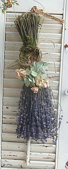 Ramo de lavanda seca con Hortensia seca rosas y por roseflower48