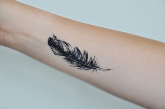 Feather Temporary Tattoo, Small Temporary Tattoo, Tattoo Temporary, Feather Art, Black, Nature Temporary Tattoo, Gift Ideas Birthday Present
