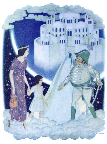 Edmund Dulac illustration to Daughters of the Stars, The Captain Greeted Them as Honored Guests. This is the other illustration out of my favorite book!