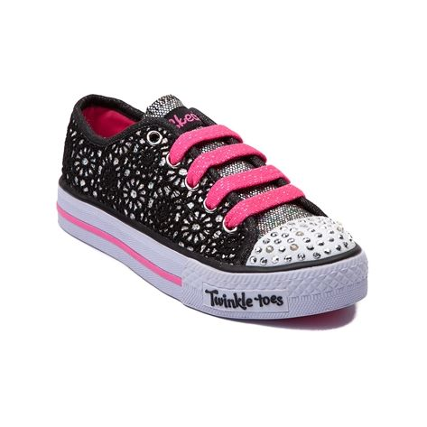 Shop for Youth Skechers Glitter Days Sneaker  in Black at Journeys Kidz. Shop today for the hottest brands in mens shoes and womens shoes at JourneysKidz.com.May her school days and play days be filled with glittery fun and shimmery cuteness. The Skechers Glitter Days Sneaker features a shiny sequin upper covered in soft floral lace textile material. Includes a hot pink contrast lace closure, light-up rhinestone toe cap, and durable rubber grip outsole.