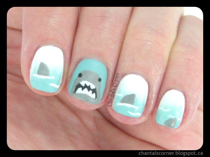 Shark Week Nail Art