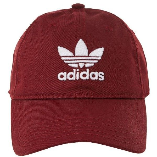 Trefoil Cap by Adidas (1,255 INR) ❤ liked on Polyvore featuring accessories, hats, caps, head, burgundy, sports hats, adidas, polyester hat, sports caps hats and adidas hat