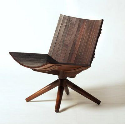 Carlos Motta; Oxidized Iron and Reclaimed Peroba Wood 'Radar' Chair for Espasso, 2010.