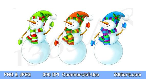 Christmas Snowman Clipart, Snowman Clip art, Snowman Graphics, Scrapbooking, Christmas Clipart, Invitations, PNG JPEG, Download - by I365art on Etsy