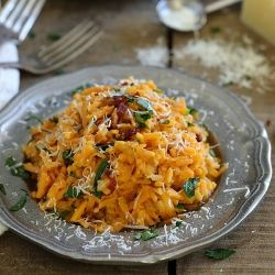 Spicy Sweet Potato Carbonara. A revamped and spiced up version of the Italian classic.