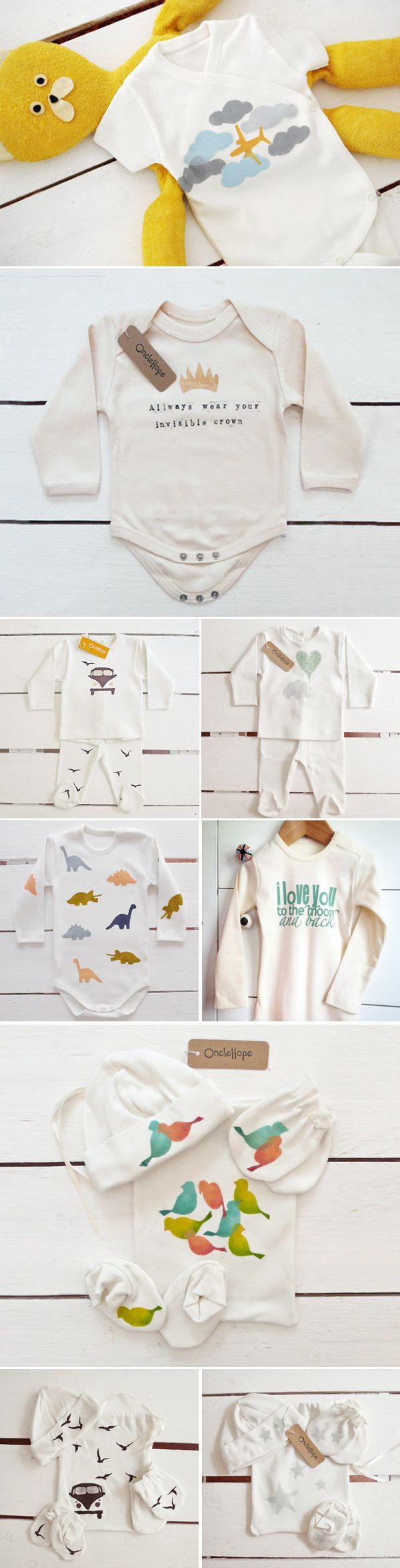Unisex Baby Clothing: I love the invisible crown one! I bet we could make these with some stamps and t-shirt paint!