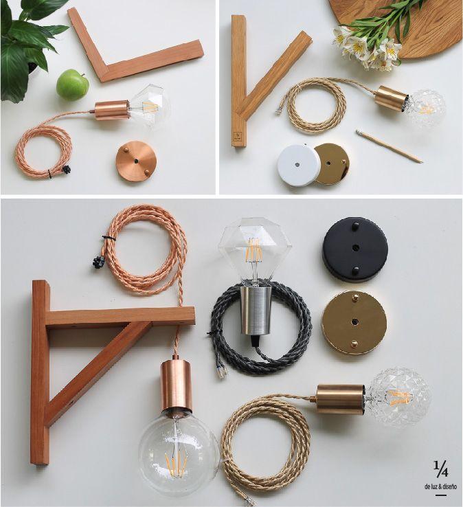Línea de Apliques 1/4 de luz 💡💡 Tu eliges la combinación que prefieras de material de lámpara, color de cordón, modelo de aplique y de ampolleta.