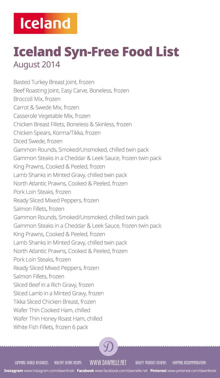 #Iceland Syn-Free Shopping List on the #SlimmingWorld #ExtraEasy plan - August 2014: