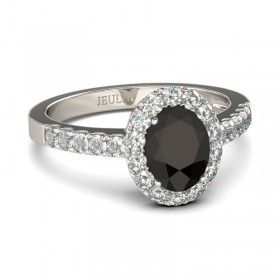 Oval Cut Black Diamond Rhodium Plating Sterling Silver Halo Women's Ring
