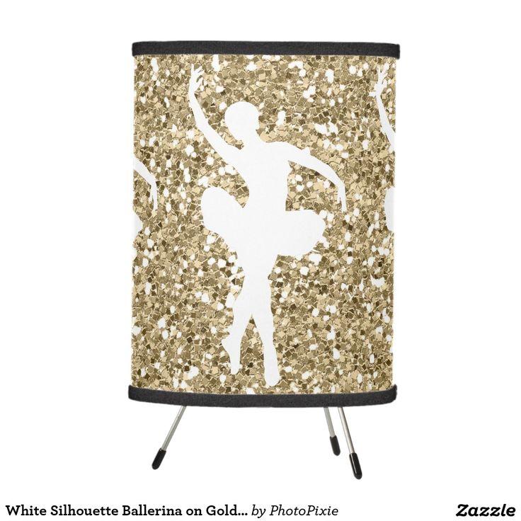 White Silhouette Ballerina on Faux Gold Glitter Tripod Lamp