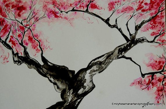 Japanese Landscape Art Cherry Blossom Contemporary landscape red ... Japanese Cherry Blossom Landscape Painting
