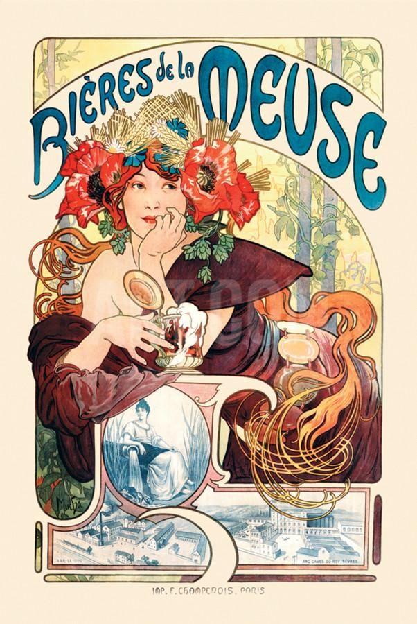Bieres De La Meuse Poster by Alphonse Mucha at Art.com