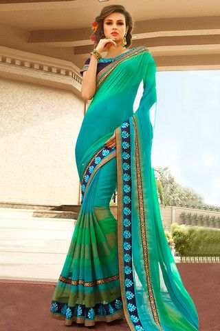 Blue Green and Turquoise Half and Half Chiffon Party Wear Saree