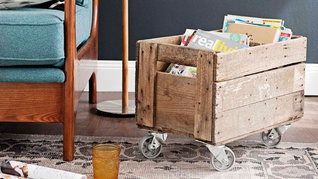 Real Living Magazine April 2012 - Handywoman - Mobile storage crate (photography: tony amos, styling/project: erin michael) How to: http://homes.ninemsn.com.au/diy/craftprojects/8435066/mobile-storage-crate#