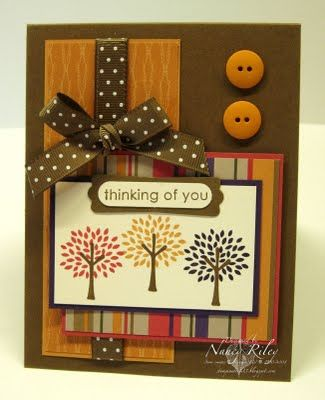 """RECIPE  Stamps: Trendy Trees  Paper: Autumn Traditions DP, Soft Suede, Ruby Red, Elegant Eggplant, More Mustard, and Very Vanilla CS  Ink: Soft Suede, Ruby Red, Elegant Eggplant, and More Mustard  Embellishments: 1/2"""" Soft Suede Polka Dot Grosgrain Ribbon, More Mustard Buttons  Tools: Modern Label Punch, Word Window Punch, Stamp-a-ma-jig  Supplies: Stampin' Dimensionals, Mini Glue Dots"""