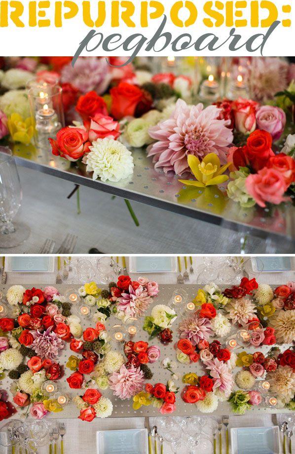 Repurposed pegboard as a flower vase