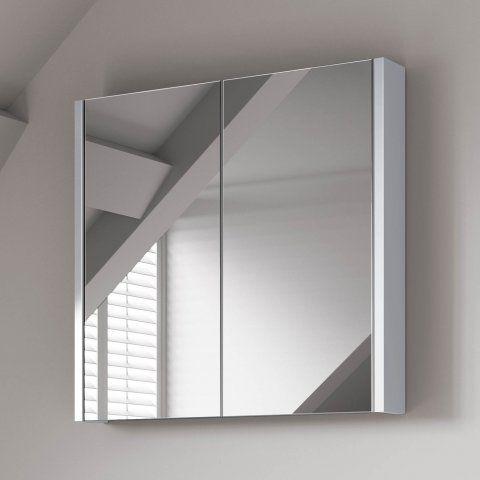 Gloss White Double Door Mirror Cabinet - 600mm   Soak.com