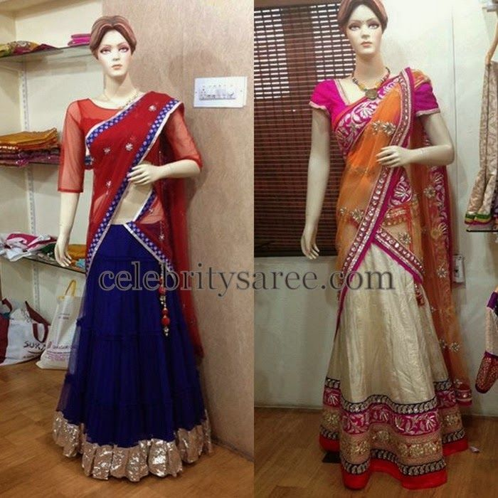 Simple Blue and White Half Sarees