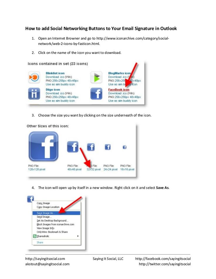 how-to-add-social-networking-buttons-to-your-outlook-email-signature by Saying It Social via Slideshare