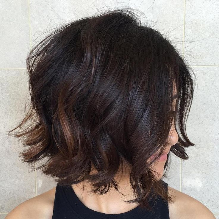 Curly Dark Brown Bob