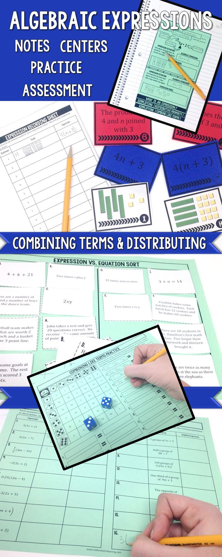 Algebraic Expressions| Distributive Property | Simplifying Expressions | Notes, Task Cards, Centers, Individual Practice, and Assessment