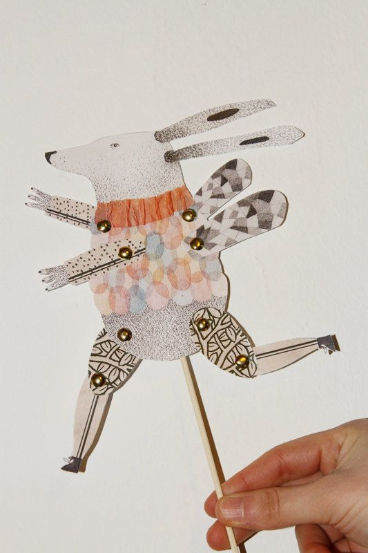 Conjunto de títeres de papel articulados 3 muñecas por 2Hands2Tails