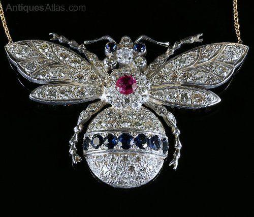 Antiques Atlas - Diamond Bumble Bee Pendant Brooch 5ct Of Diamonds