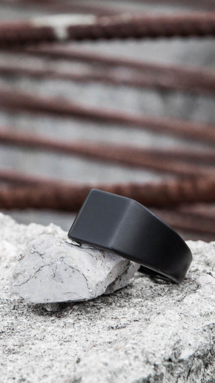 """Made from tungsten, the Lourd is by far our weightiest ring, and fittingly takes it's name from the French word for """"heavy."""" Based on a classic school ring, this is one of our most refined pieces to d"""